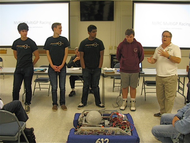 A local High School Robotics team stops by a NVRC club meeting to demo their creation.  NVRC and its members support many local STEM programs.